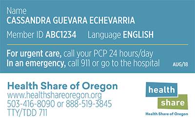Health Share of Oregon Sample ID Card